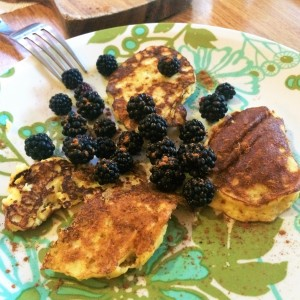 Pancakes and blackberries