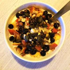 peach and blackberry bircher